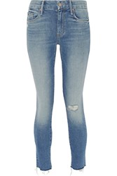 Mother Looker Distressed Mid Rise Skinny Jeans Light Denim
