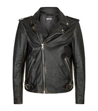 Just Cavalli Scorpion Detail Leather Biker Jacket Male Black
