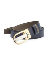 Bally Grained Calf Leather Reversible Belt Ink Blue