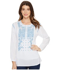 Dylan By True Grit Embroidered And Stitched Cotton Long Sleeve Tunic White Sky Embroidery Women's Clothing
