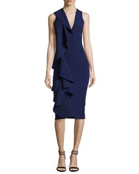 Solace London Ceara Sleeveless Ponte Ruffle Sheath Dress Navy