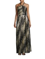 Shoshanna Midnight Metallic Clip Dot Halter Gown Jet Gold
