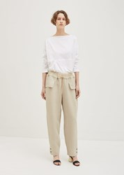 Nehera Classic Linen Pants Grey Beige With Ochre Stripes