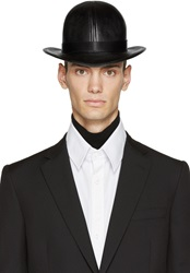 Ktz Black Faux Leather Short Bowler Hat