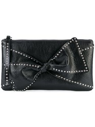 Red Valentino Studded Trim Clutch Bag Women Sheep Skin Shearling One Size Black