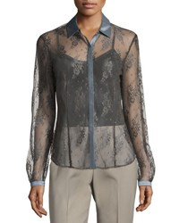 Lafayette 148 New York Haiden Transparent Lace Blouse Gray