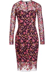 Lela Rose Sheer Floral Embroidery Dress Pink And Purple