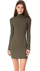 Mcq By Alexander Mcqueen Lace Rib Open Dress Military Green
