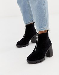 Office Aida Black Suede Chunky Heeled Ankle Boot With Silver Zip Black Suede