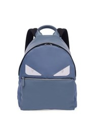 Fendi Monster Leather And Tech Twill Backpack Equatore Green Tempesta Blue