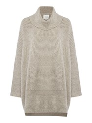 Part Two Stylish Knitted Poncho Beige