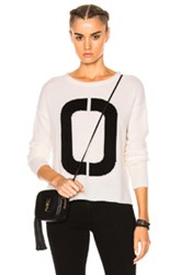 James Perse Cashmere Oversize Number Sweater In White