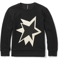 Neil Barrett Leather Appliqued Boiled Wool Sweatshirt Black