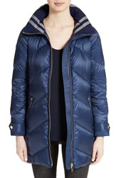 Burberry Women's Eastwick Chevron Quilted Coat Canvas Blue