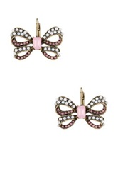 Betsey Johnson Faux Pearl Bow Drop Earrings Pink
