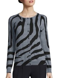 Escada Zebra Print Wool Cardigan Multi