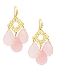 Indulgems Floral Pink Chalcedony Drops Earrings Rose