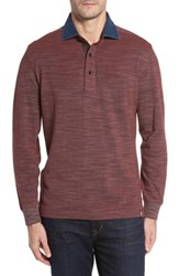 Thaddeus Men's Patton Space Dyed Long Sleeve Polo Cinnabar