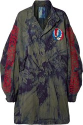 R 13 R13 Grateful Dead Oversized Embroidered Tie Dyed Cotton Twill Coat Green