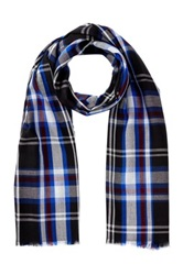 Amicale Lightweight Plaid Scarf Blue