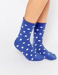 Plush Spot Print Ankle Sock Blue Spot