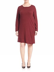 Eileen Fisher Jewelneck Long Sleeve Dress Passion Flower