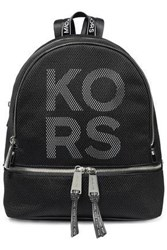 Michael Michael Kors Woman Rhea Logo Print Faux Leather Backpack Black