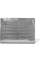 Nancy Gonzalez Metallic Crocodile Clutch Silver