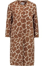 Stella Jean Printed Cotton Twill Coat Brown