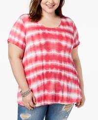 Eyeshadow Trendy Plus Size Tie Dyed T Shirt Pink Combo