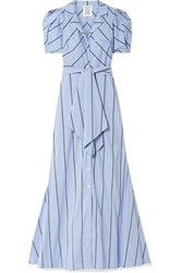 Rosie Assoulin Striped Cotton Blend Poplin Maxi Dress Light Blue