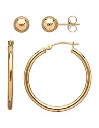 Lord And Taylor 14K Gold Stud Hoop Earrings Set 0.98In Yellow Gold