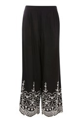 Topshop Petite Embroidered Wide Leg Trousers Black
