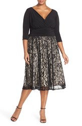 Plus Size Women's Sangria Jersey And Lace Midi Dress