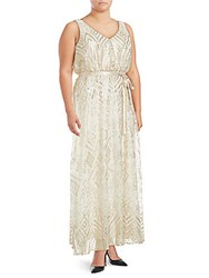 Isaac Mizrahi Sequined Sleeveless Gown Gold