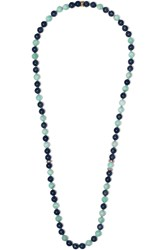 Carolina Bucci Recharmed 18 Karat Rose Gold Multi Stone Necklace Blue