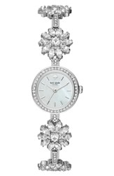 Kate Spade Daisy Crystal Watch 20Mm Silver Mother Of Pearl