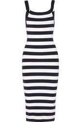 Michael Kors Collection Striped Stretch Merino Wool Blend Dress Midnight Blue