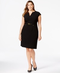 Calvin Klein Plus Size Cutout Neck Empire Waist Dress