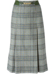 Celine Vintage Pleated Check Skirt Blue
