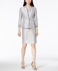 Le Suit Shiny One Button Jacket And Dress Silver
