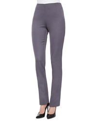 Lela Rose Stretch Sateen Side Zip Pants Charcoal