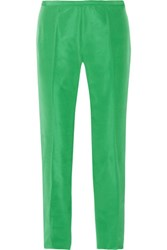 Rochas Cropped Satin Twill Straight Leg Pants Green