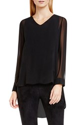 Vince Camuto Women's Knit Underlay High Low V Neck Blouse Rich Black