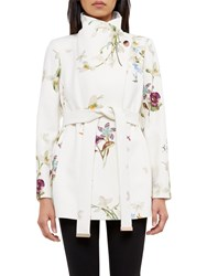 Ted Baker Phillis Spring Meadow Wool Cashmere Blend Wrap Coat Ivory