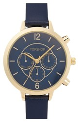 Topshop Women's Chronograph Leather Strap Watch 35Mm Gold Multi