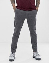 Only And Sons Slim Fit Pinstripe Smart Trousers In Grey