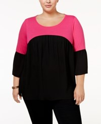 Ny Collection Plus Size Colorblocked Peasant Top Brght Pink