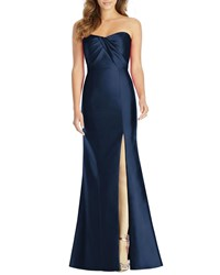 Alfred Sung Strapless Sweetheart Draped Bodice Gown W Thigh Slit Midnight