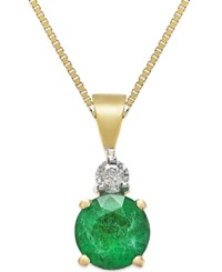 Macy's Emerald 3 8 Ct. T.W. And Diamond Accent Pendant In 14K Gold Yellow Gold